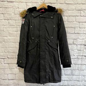 STORM MOUNTAIN Winter Jacket Coat Black with Fur Hood